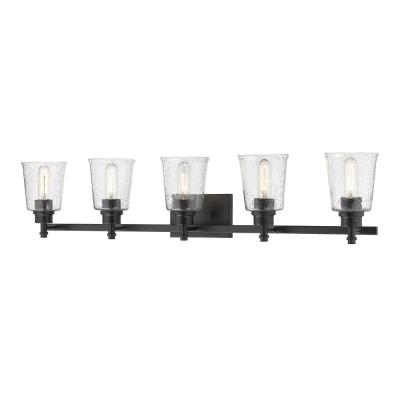 5-Light Matte Black Vanity Light with Clear Seedy Glass