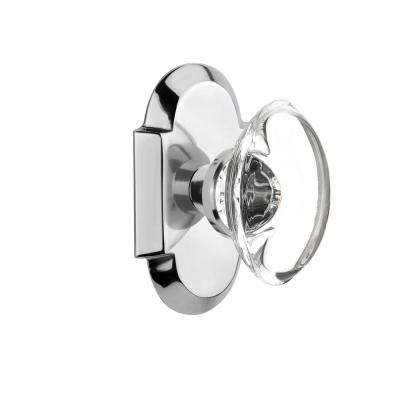 Cottage Plate 2-3/4 in. Backset Bright Chrome Privacy Bed/Bath Oval Clear Crystal Glass Door Knob