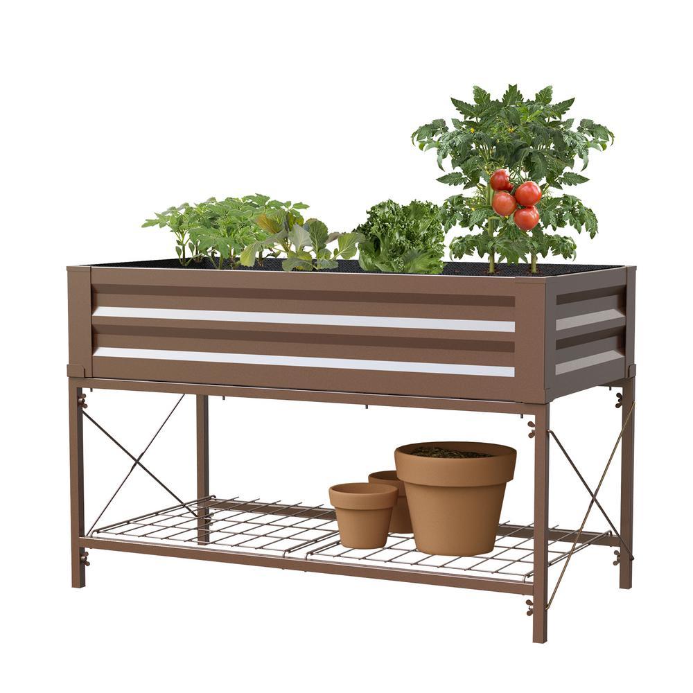 Panacea Stand Up Timber Brown Metal Raised Garden Planter