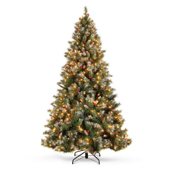 Best Choice Products 7 5 Ft Pre Lit Incandescent Flocked Pre Decorated Artificial Christmas Tree With 550 Warm White Lights Sky5881 The Home Depot