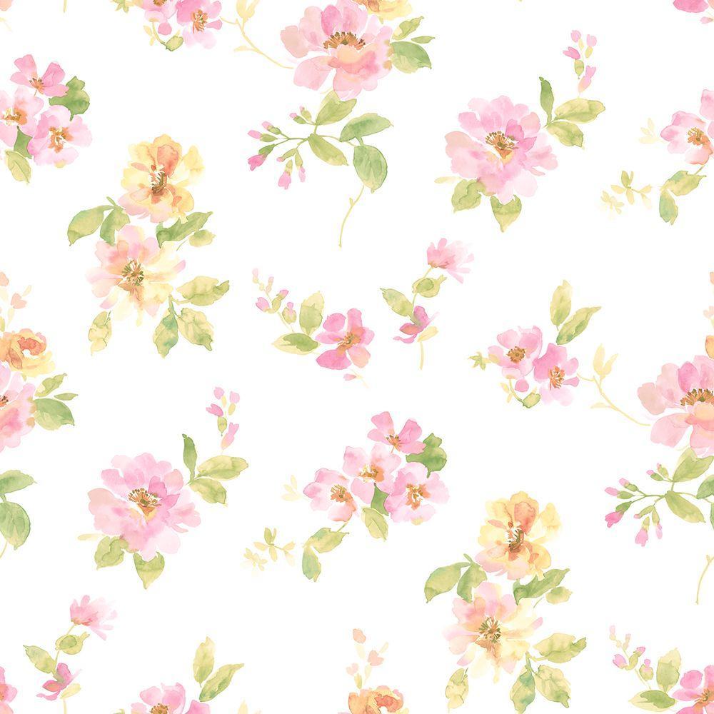 Chesapeake Captiva Pink Watercolor Floral Wallpaper Sample