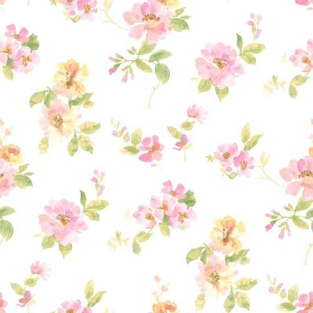 Captiva Pink Watercolor Floral Wallpaper Sample