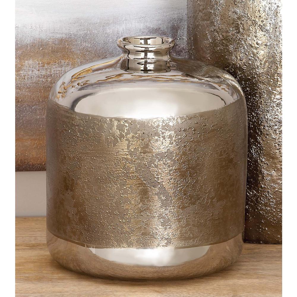Silver and Antique Gold Ceramic Decorative Vase