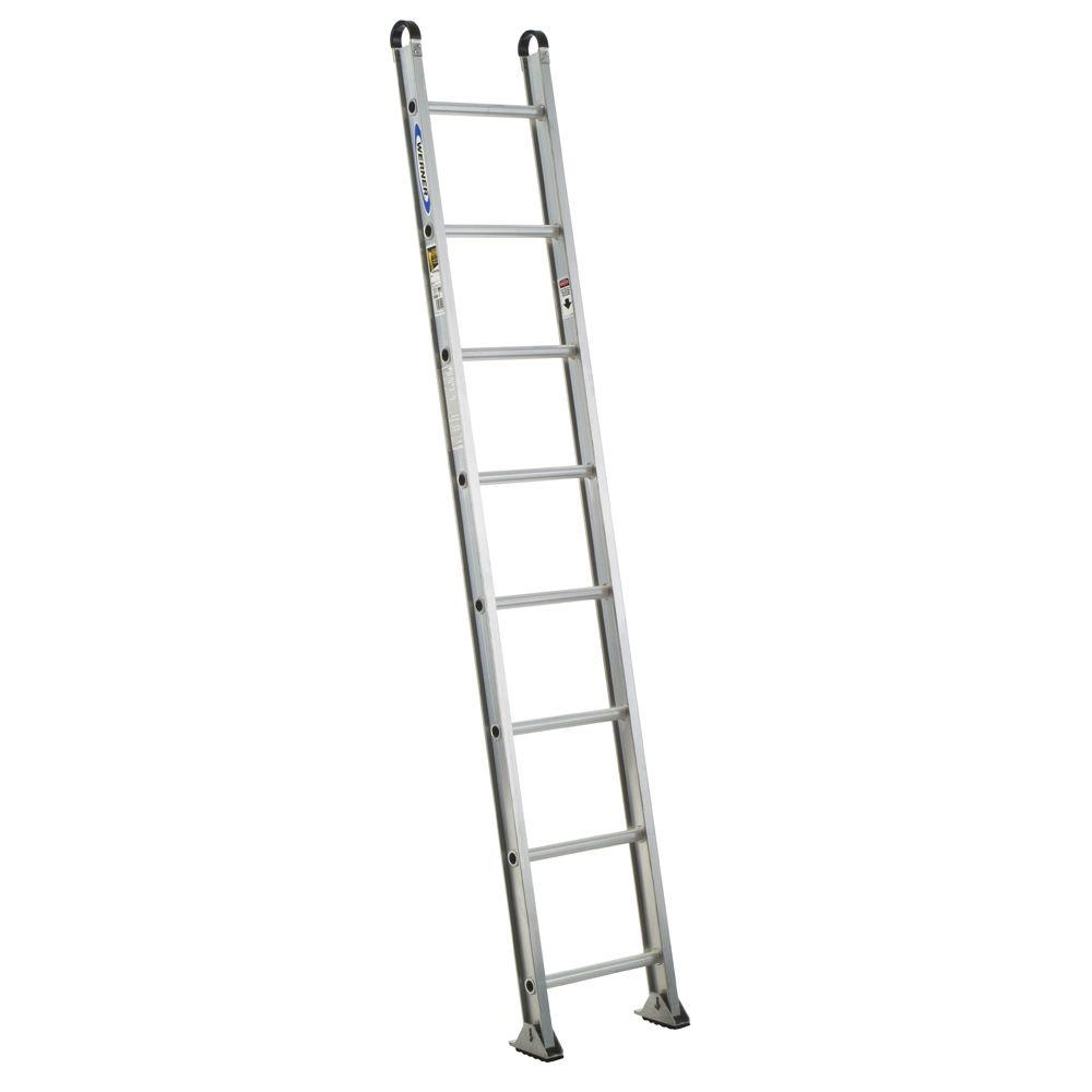 Werner 8 Ft Aluminum Round Rung Straight Ladder With 375