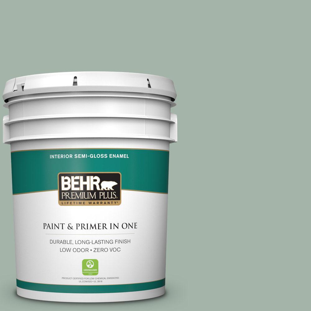 BEHR Premium Plus 5-gal. #PMD-100 Aquatone Zero VOC Semi-Gloss Enamel Interior Paint