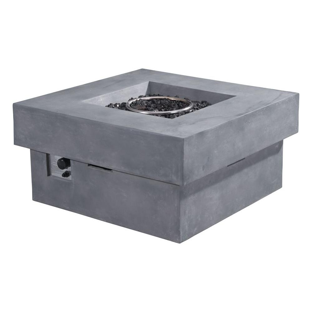 Fire Glass Rocks Propane Fire Pit in Gray - ZUO Diablo 36 In. Fire Glass Rocks Propane Fire Pit In Gray-100413