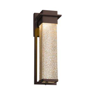 Fusion Pacific Large Dark Bronze LED Outdoor Wall Sconce with Mercury Glass Shade