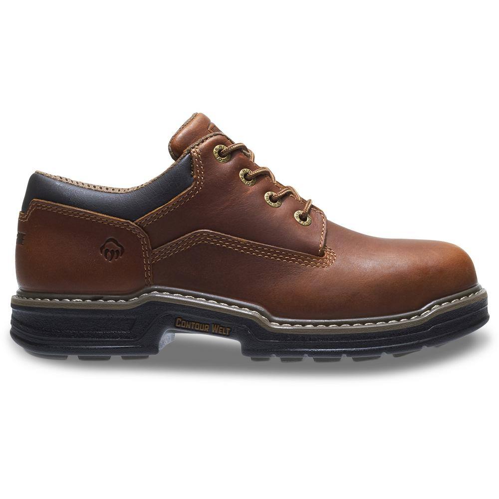 60ded1891a9 Wolverine Men's Raider Size 9.5EW Brown Full-Grain Leather Steel Toe Oxford
