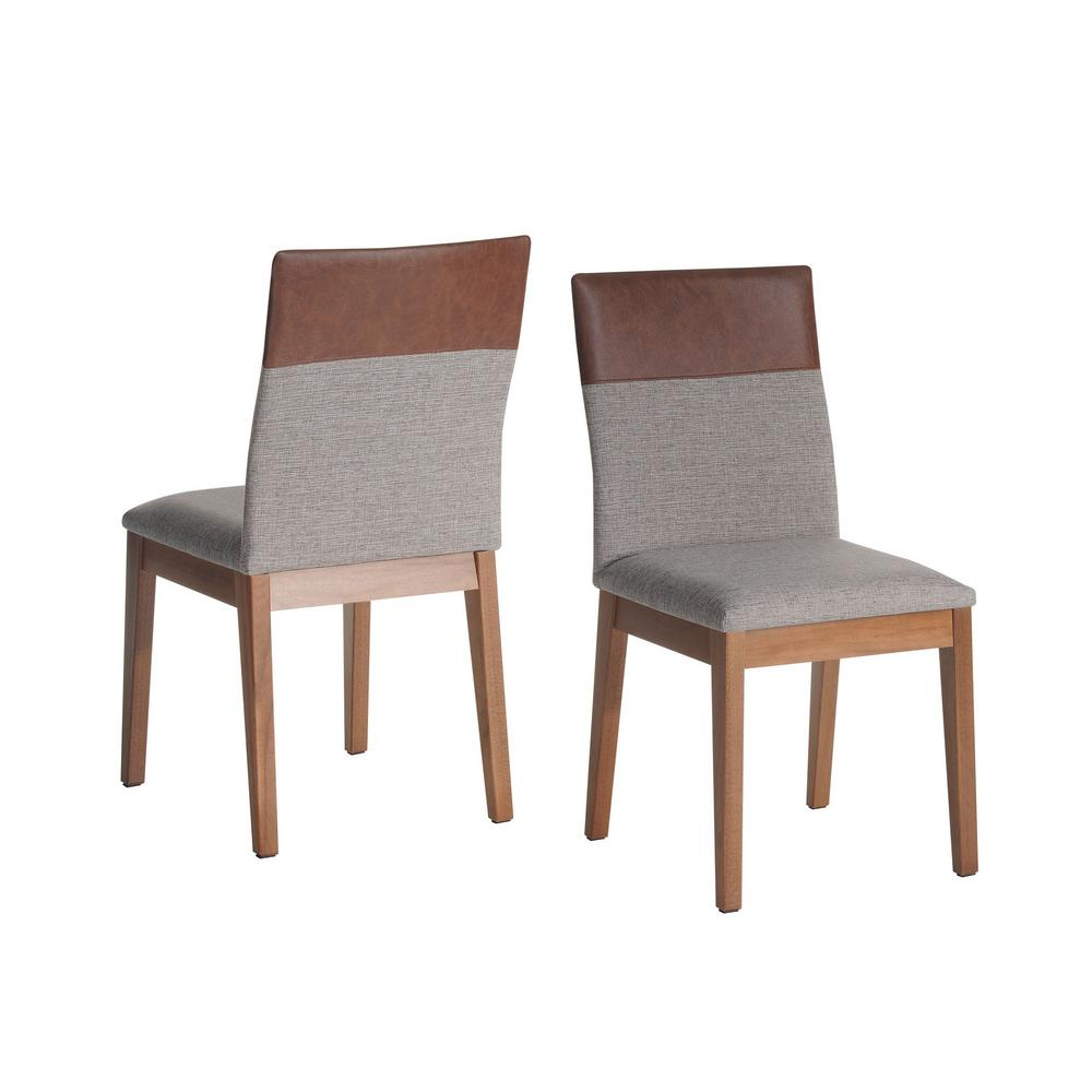 Duke grey and brown dining chair set of 2
