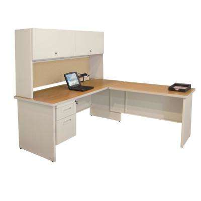 72 In. W X 78 In. D Putty And Beryl Desk With Return