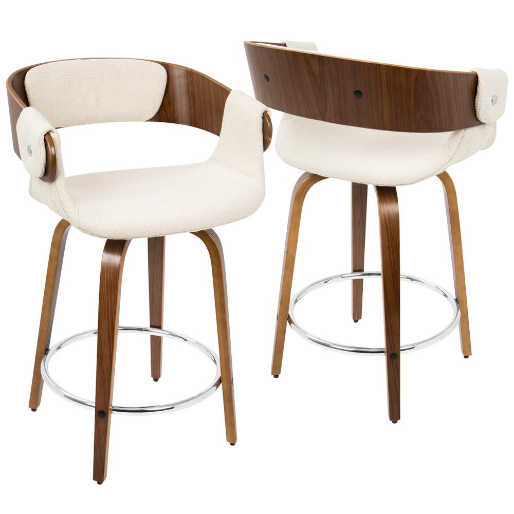 Lumisource eliza walnut and cream mid century modern for Contemporary bar stools
