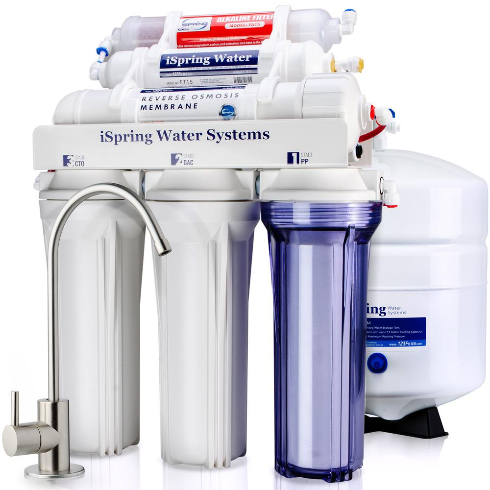iSpring ISPRING 6-Stage High Capacity Under Under Sink Reverse Osmosis Drinking Water Filter System with Alkaline Remineralization, White