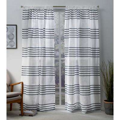 Monet 54 in. W x 84 in. L Sheer Rod Pocket Top Curtain Panel in Indigo (2 Panels)