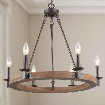 Rustic Adjustable 6-Light Bronze Wood Wagon Wheel Farmhouse Island Chandelier with Candle Style