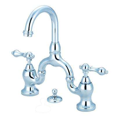 8 in. Widespread 2-Handle High-Arc Bridge Bathroom Faucet in Polished Chrome
