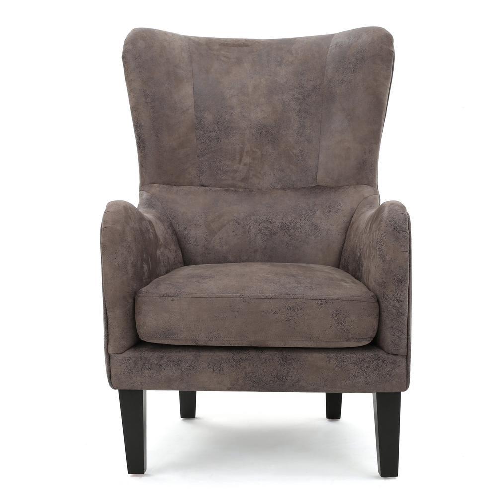 Noble House Lorenzo Studded Grayish Brown Fabric High Back Club Chair