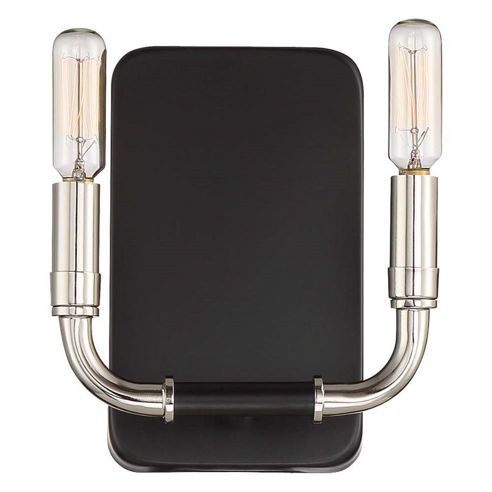 Liege 2-Light Matte Black with Polished Nickel Highlights Sconce Light