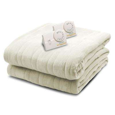 1003 Series Comfort Knit Heated 84 in. x 90 in. Natural Queen Size Blanket