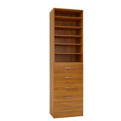 15 in. D x 24 in. W x 84 in. H Calabria Cognac Melamine with 6-Shelves and 5-Drawers Closet System Kit