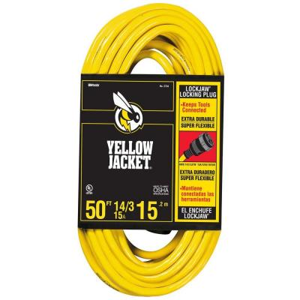 50 ft. 14/3 SJTW Outdoor Medium-Duty Lock Jaw Extension Cord