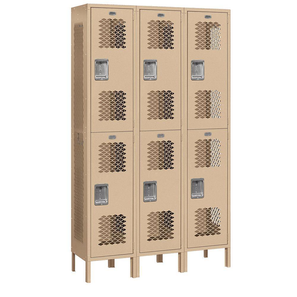 Salsbury Industries 82000 Series 45 in. W x 78 in. H x 15 in. D 2-Tier Extra Wide Vented Metal Locker Assembled in Tan
