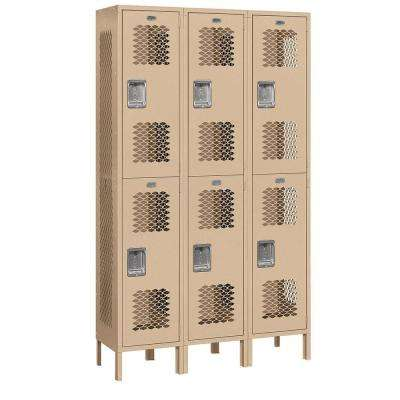 82000 Series 45 in. W x 78 in. H x 15 in. D 2-Tier Extra Wide Vented Metal Locker Assembled in Tan