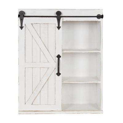 Cates 8 in. x 22 in. x 28 in. White Wood Decorative Cabinet Wall Shelf