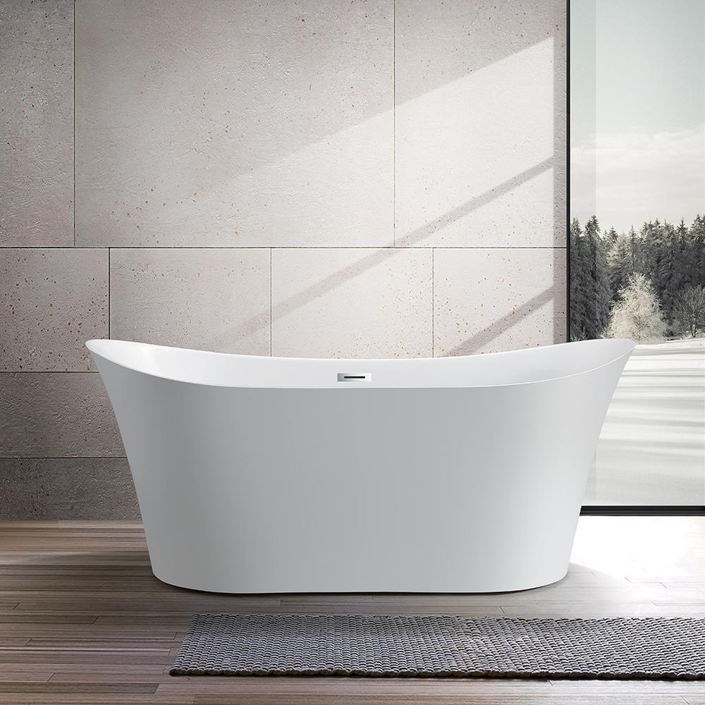 Vanity Art Calais 67 in. Acrylic Flatbottom Freestanding Bathtub in White