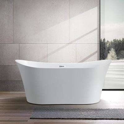 Calais 67 in. Acrylic Flatbottom Freestanding Bathtub in White