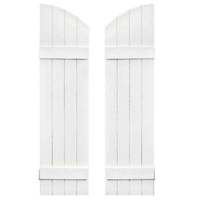 14 in. x 49 in. Board-N-Batten Shutters Pair, 4 Boards Joined with Arch Top #001 White