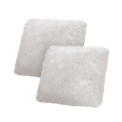 Faux-Fur Light Gray Solid Faux Fur Polyester 18 in. x 18 in. Throw Pillow (Set of 2)