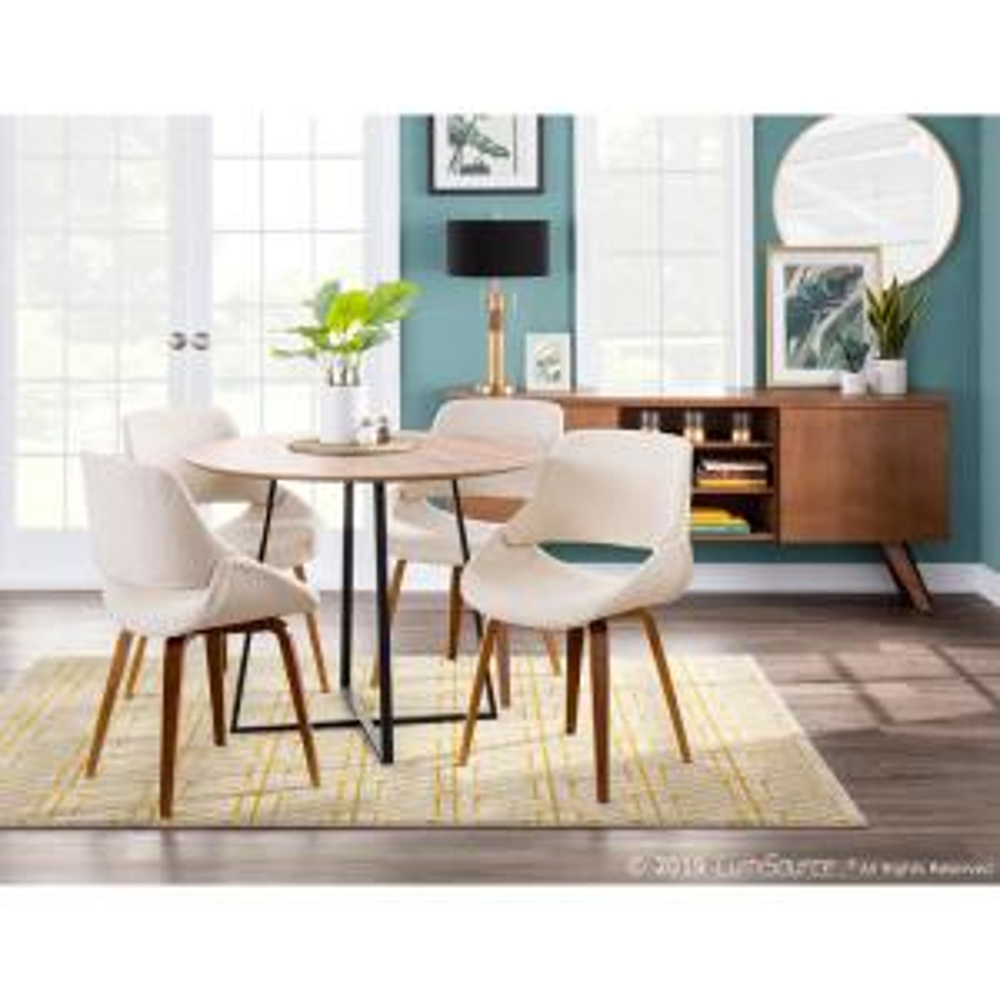 Enjoyable Lumisource Fabrico Mid Century Modern Walnut And Cream Ncnpc Chair Design For Home Ncnpcorg