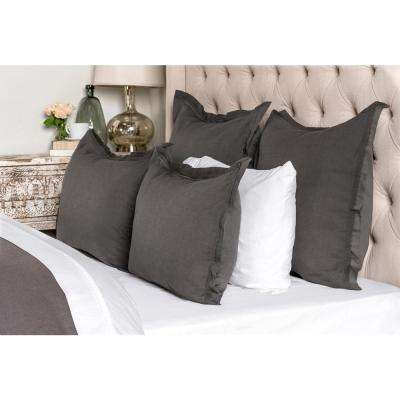 Harlow Charcoal Linen Blend 26 in. x 26 in. Euro Sham