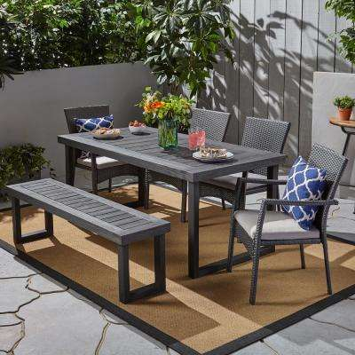 Garner Grey 6-Piece Aluminum and Wicker Outdoor Dining Set with Grey Cushions