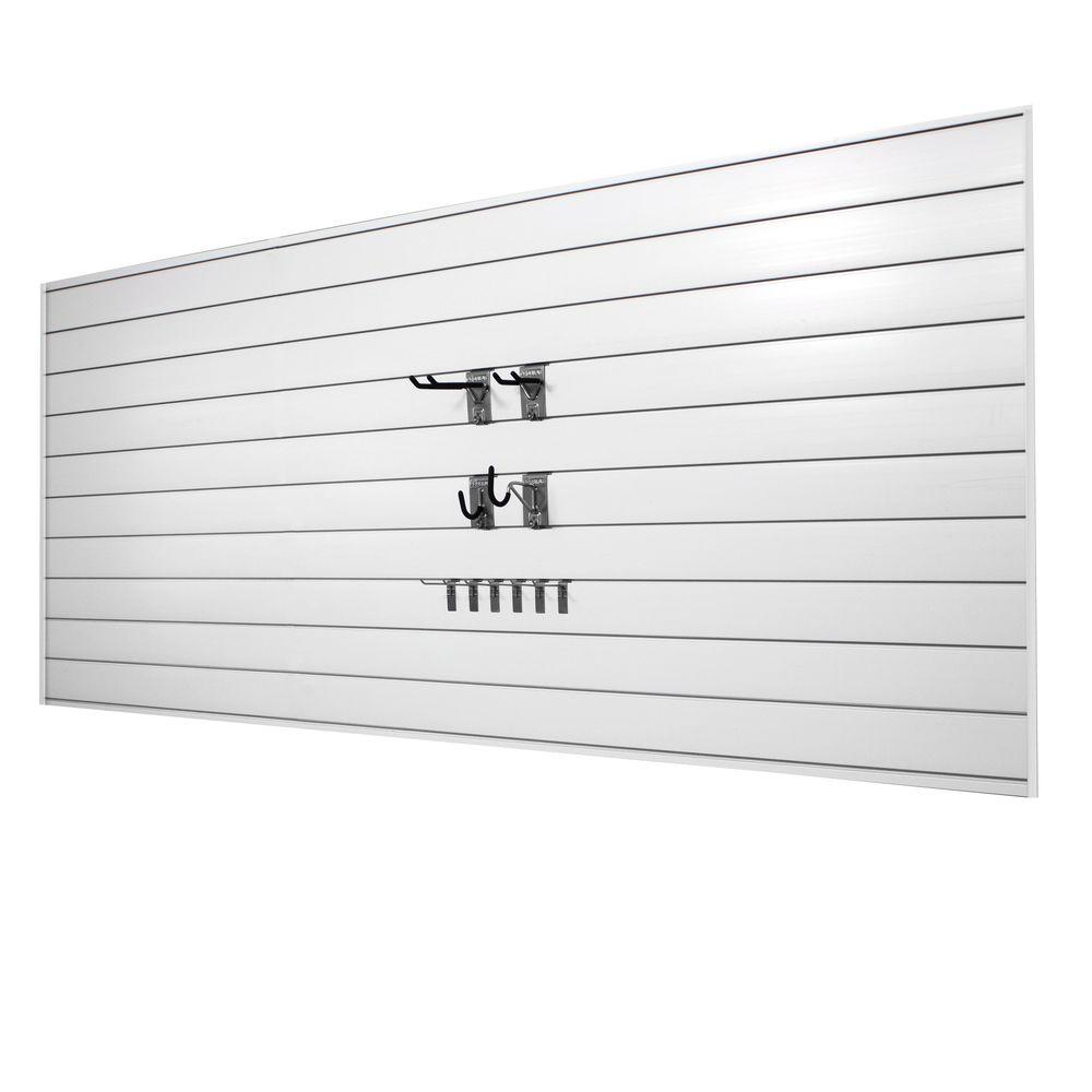 Proslat 32 sq. ft. Wall Panels with Mini Hook Combo Kit in White (20-Piece)