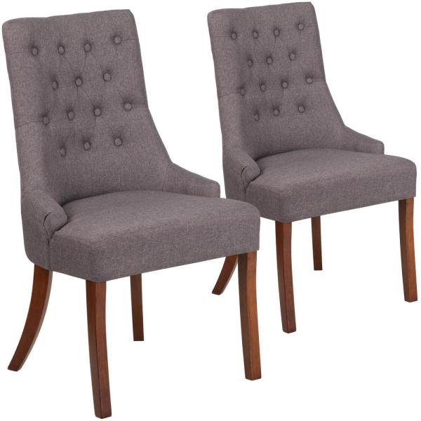 Carnegy Avenue Gray Fabric Fabric Side Chair (Set of 2) CGA-QY-225940-GR-HD
