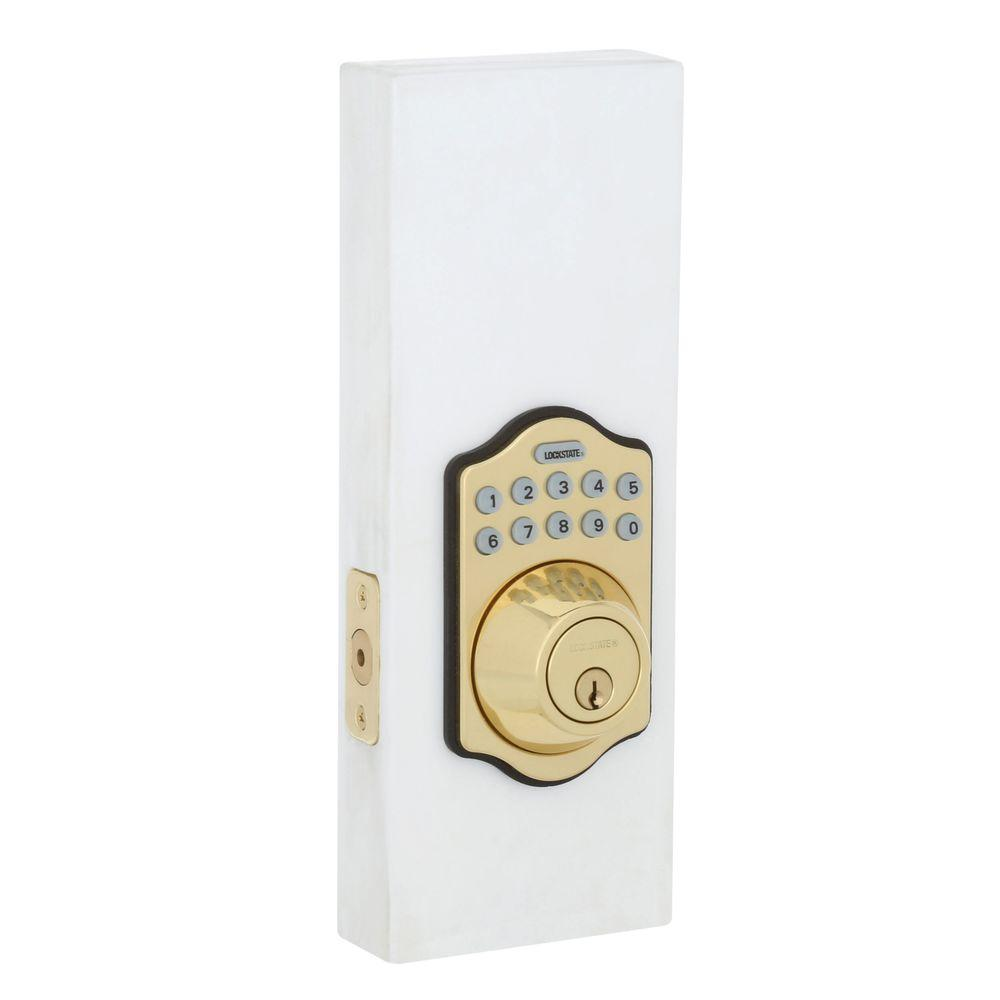 Electronic Keypad Keyless Single Cylinder Polished Brass Deadbolt Lock