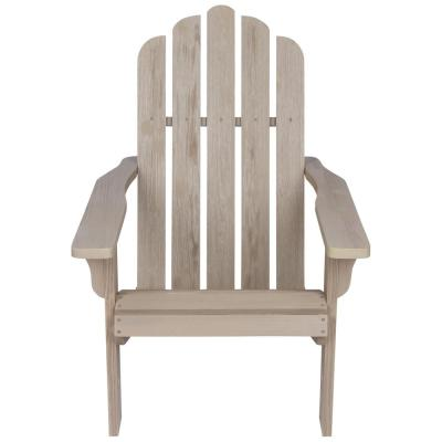 38 in. Tall Vintage Marina Patio Taupe Grey Wooden Adirondack Chair
