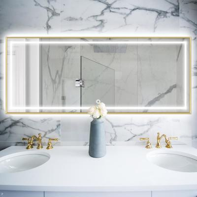 55 in. x 20 in. Gold Metal Framed LED Single Bathroom Mirror