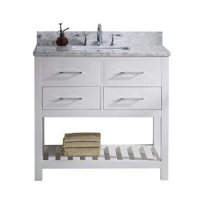 Caroline Estate 36 in. W Bath Vanity in White with Marble Vanity Top in White with Square Basin