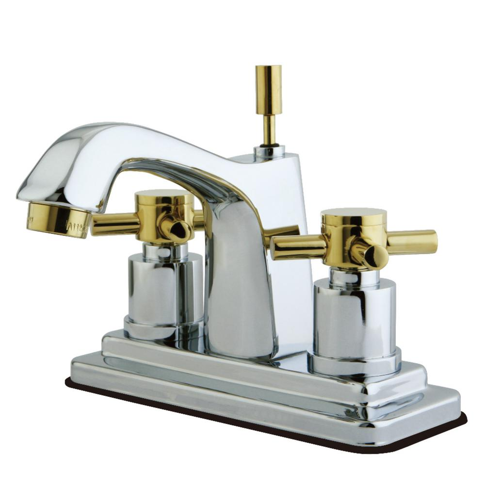 Kingston Brass Concord 4 in. Centerset 2-Handle Bathroom Faucet in Chrome and Polished Brass