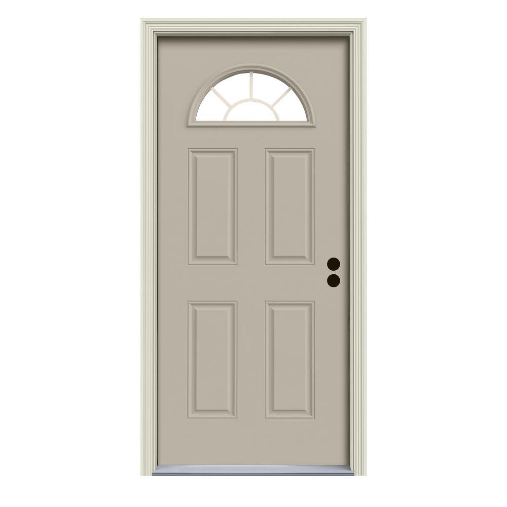 JELD-WEN 32 in. x 80 in. Fan Lite Desert Sand Painted Steel Prehung Left-Hand Inswing Front Door w/Brickmould