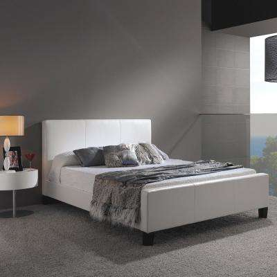 Euro White California King-Size Platform Bed with Side Rails and Soft Upholstered Exterior