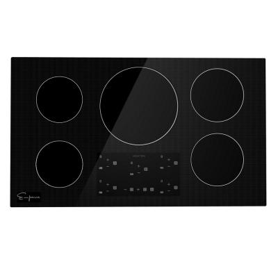 Built-In 36 in. Electric Induction Cooktop in Black with 5 Elements Including Simmer Element