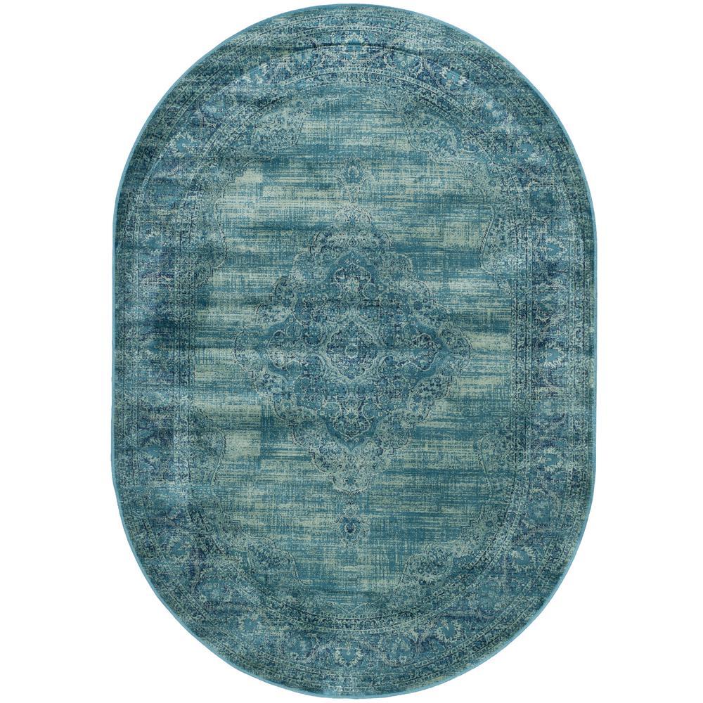 Vintage Turquoise/Multi 5 ft. x 8 ft. Oval Area Rug