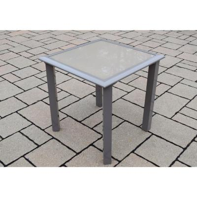 18 in. x 18 in. Screen Printed Aluminum Patio Side Table