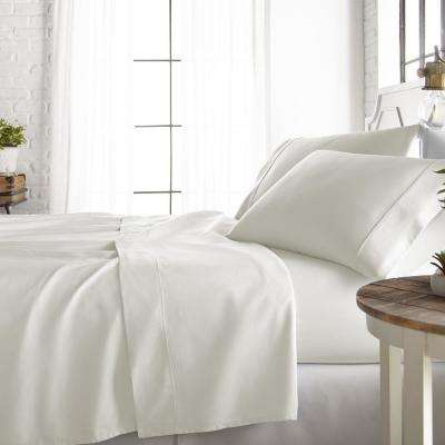 4-Piece Ivory 800 Thread Count Cotton Rich California King Bed Sheet Set
