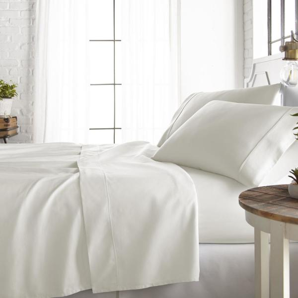 Becky Cameron 4-Piece Ivory 800 Thread Count Cotton Rich Queen Bed