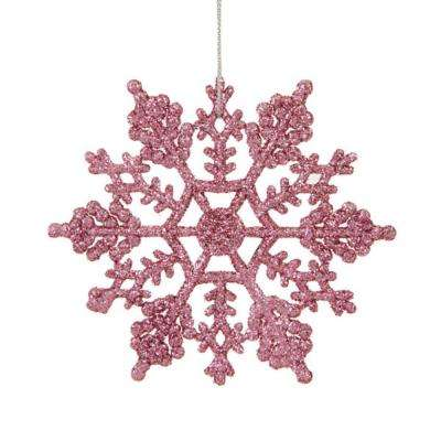 Mauve Pink Glitter Snowflake Christmas Ornaments Pack Of 24
