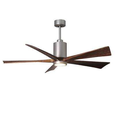 Patricia 60 in. LED Indoor/Outdoor Damp Brushed Nickel Ceiling Fan with Light with Remote Control and Wall Control